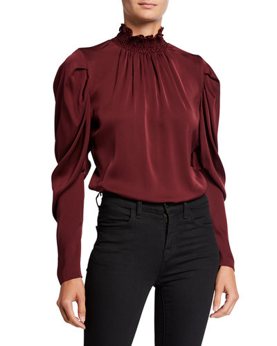Anderson Long-Sleeve Stretch Silk Turtleneck Blouse