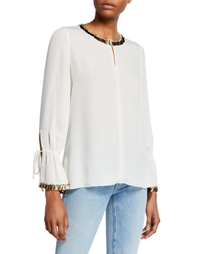 Juliette Embellished Silk Georgette Blouse