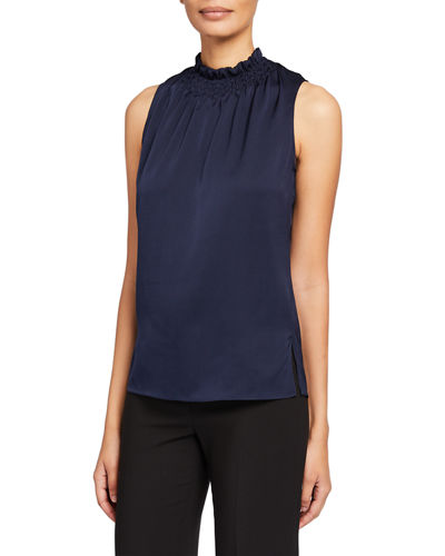 Remi Silk Mock-Neck Sleeveless Blouse