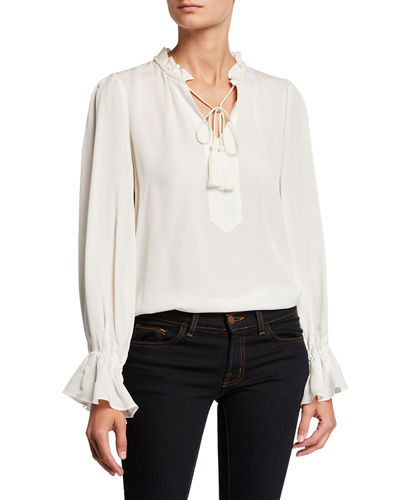 Cara Tassel-Tie Long-Sleeve Silk Blouse