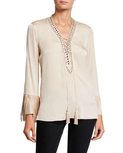 Kobi Halperin Melinda Lace-Up Long-Sleeve Fringe-Trim Silk Blouse