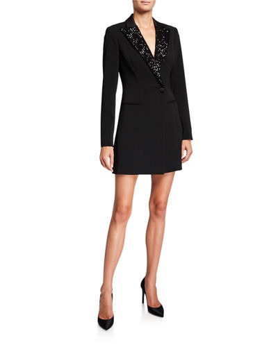 Ace Long-Sleeve Sequin-Collar Blazer Dress