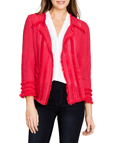 Playful Open-Front Fringe Jacket