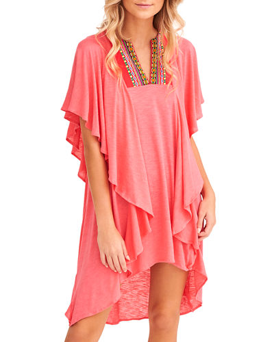 Embroidered Ruffle Coverup Dress