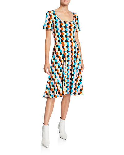 Geo Printed Scoop-Neck Short-Sleeve Luxe Jersey Dress