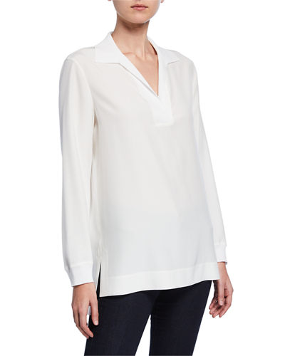 Plus Size Boyd V-Neck Long Sleeve Matte Silk Blouse