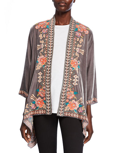 Plus Size Meave Floral Embroidered Velvet Drape Jacket