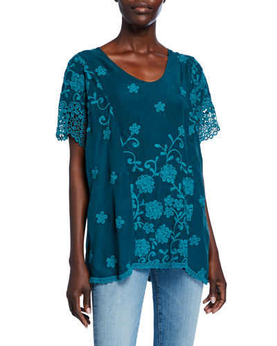 Johnny Was Neneti U-Neck Short-Sleeve Cutout Edge Top