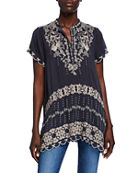 Johnny Was Plus Size Fletcher Embroidered Short-Sleeve
