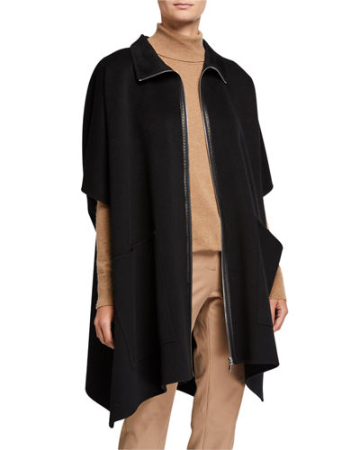 Zip-Front Luxe Cashmere Poncho