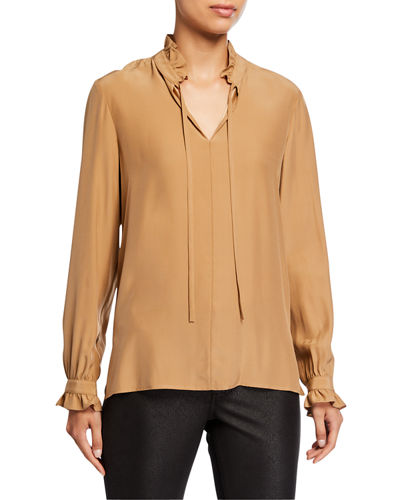 High-Neck Long-Sleeve Matte Silk Blouse with Ties