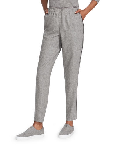 Finite Italian Flannel Track Pants with Piping