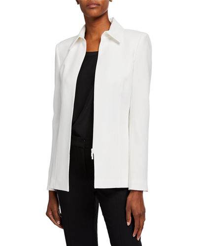 Aretha Finesse Crepe Zip-Front Jacket