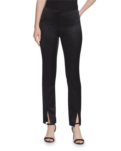 Waldorf Slim Reverie Satin Cloth Pants with Front Slit