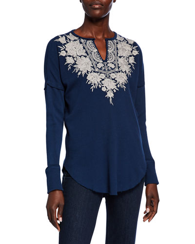 Christina Embroidered Thermal V-Neck Long-Sleeve Top