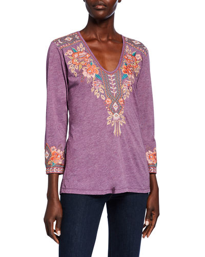 Maeve Embroidered V-Neck 3/4-Sleeve Tee