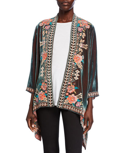 Meave Floral Embroidered Velvet Drape Jacket