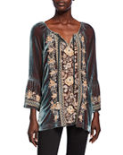 Johnny Was Marushka Floral-Embroidered Velvet Flare-Sleeve Top