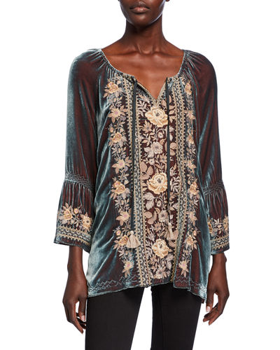 Marushka Floral-Embroidered Velvet Flare-Sleeve Top