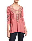 Johnny Was Plus Size Marushka Embroidered 3/4-Sleeve Trapeze