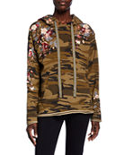 Johnny Was Kira Camo French-Terry Hoodie Pullover w/