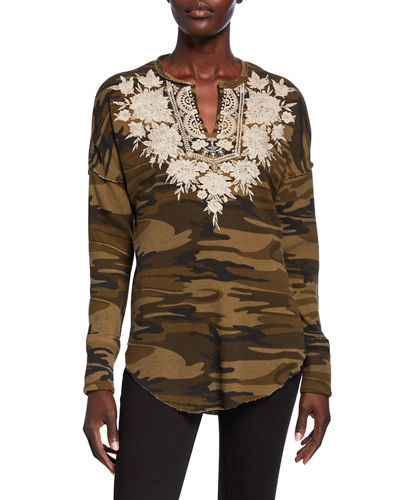 Plus Size Christina Embroidered Thermal V-Neck Long-Sleeve Top