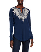 Johnny Was Plus Size Christina Embroidered Thermal V-Neck