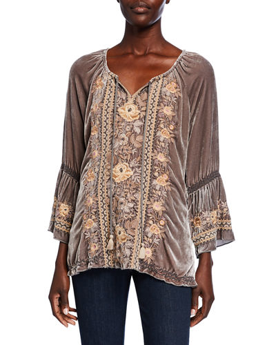 Plus Size Marushka Floral-Embroidered Velvet Flare-Sleeve Top
