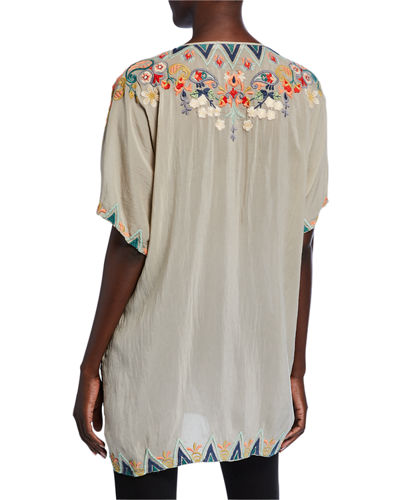 Johnny Was Plus Size Tamaya Embroidered Scoop-Neck Short-Sleeve Tunic