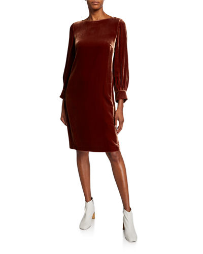Lura Long-Sleeve Velvet Dress