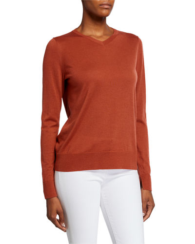 V-Neck Fine Gauge Merino Wool Sweater