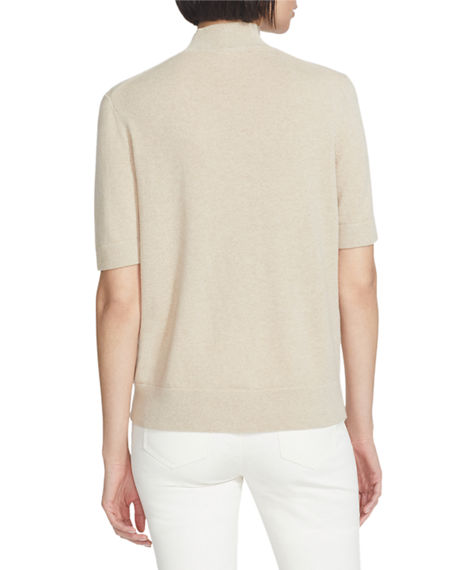 Image 2 of 2: Lafayette 148 New York Mock-Neck Cashmere Sweater with Lurex