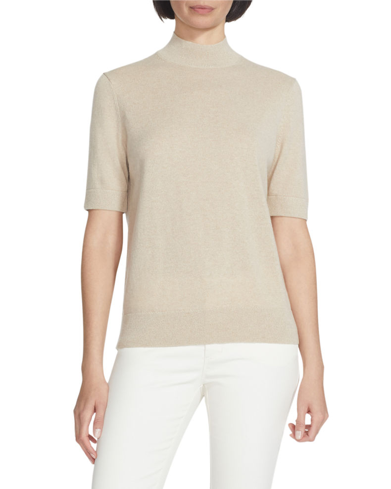 Lafayette 148 New York Mock-Neck Cashmere Sweater with Lurex