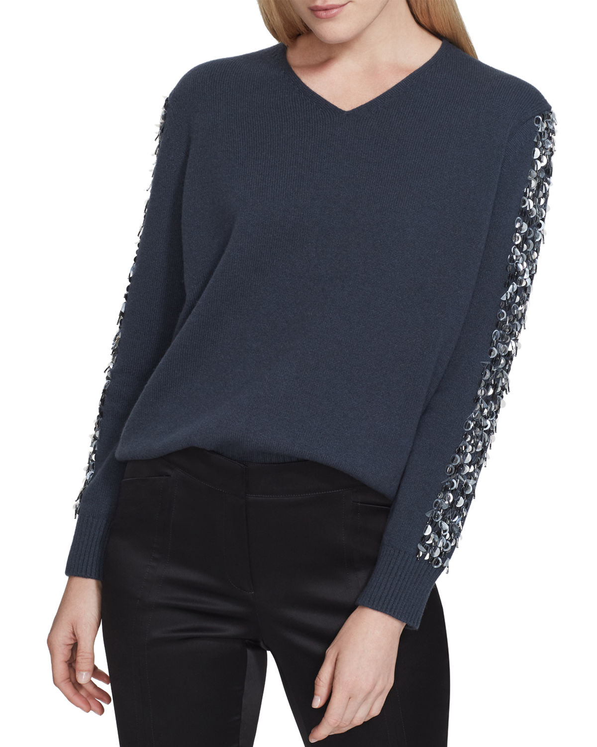Lafayette 148 Sweaters CASHMERE V-NECK SWEATER WITH SEQUINS