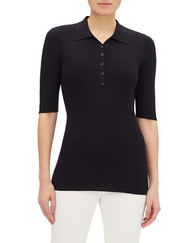 Ribbed Elbow-Sleeve Fitted Polo Sweater