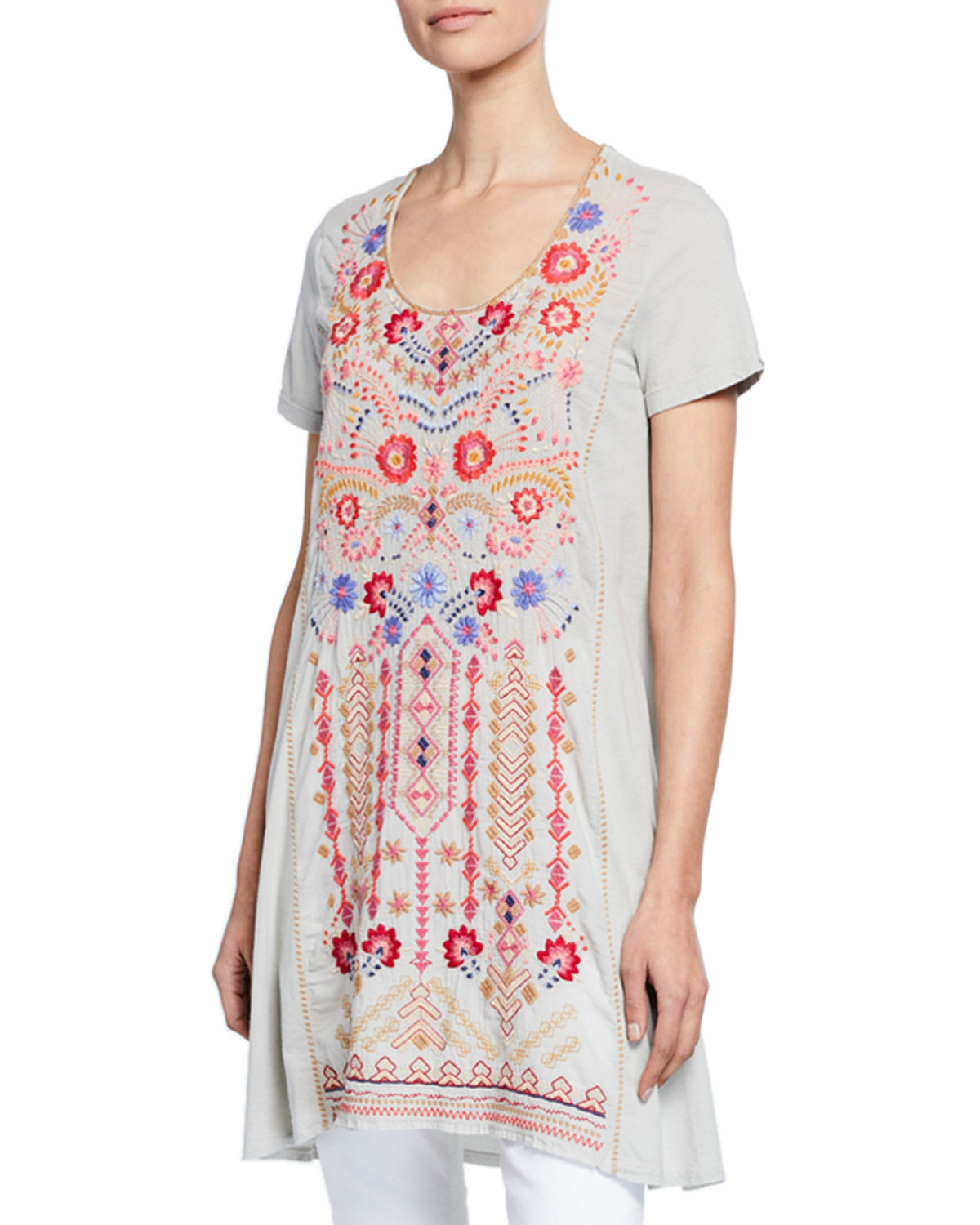 Johnny Was Knits FREDERIQUE EMBROIDERED SHORT-SLEEVE PANEL KNIT MIX TUNIC