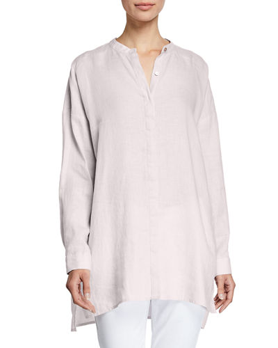 70e81e42 Quick Look. Eileen Fisher · Band-Collar Button-Down Long-Sleeve  Handkerchief Linen Shirt
