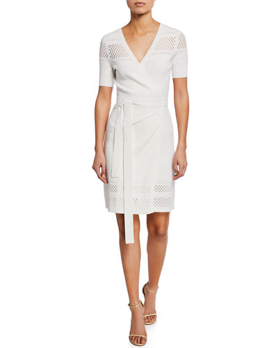 Diane von Furstenberg Ivy Knit Short-Sleeve Wrap Dress
