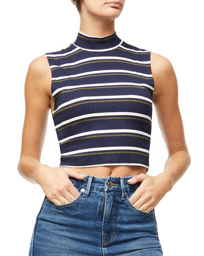 Cropped Sleeveless Mock-Neck Top - Inclusive Sizing