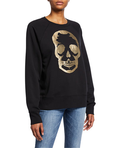 Foil Skull Graphic Raglan-Sleeve Sweatshirt