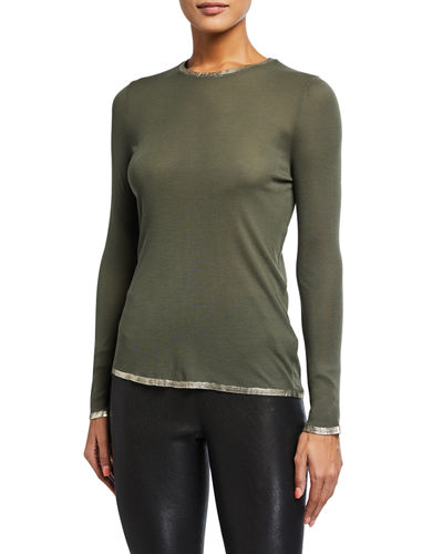 Willy Foil-Trim Long-Sleeve Top