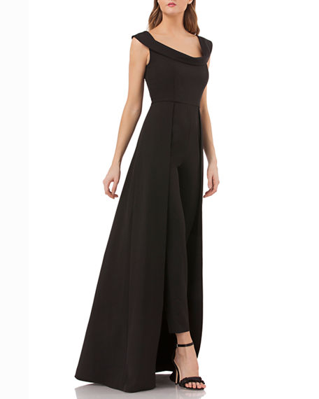 Image 2 of 5: Kay Unger New York Anais Stretch Crepe Jumpsuit with Skirt Overlay