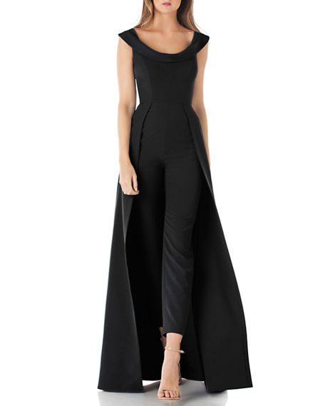 Image 1 of 5: Kay Unger New York Anais Stretch Crepe Jumpsuit with Skirt Overlay