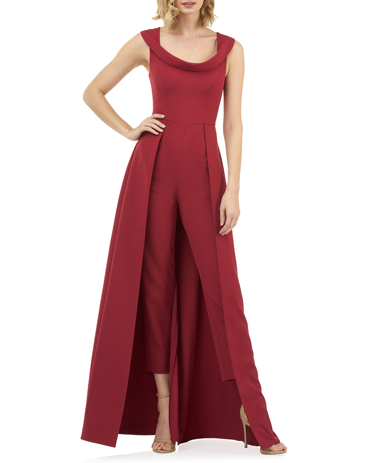 Kay Unger Suits ANAIS STRETCH CREPE JUMPSUIT WITH SKIRT OVERLAY