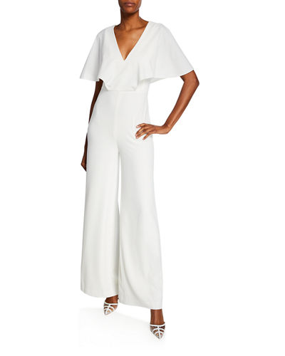 Halston Flowy Cape-Sleeve V-Neck Wide-Leg Jumpsuit