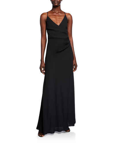 The Allison Faux Wrap Halter Dress