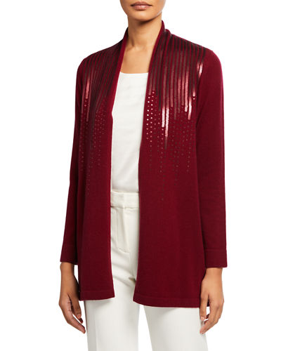 Cashmere Scattered Sequin Open-Front Cardigan