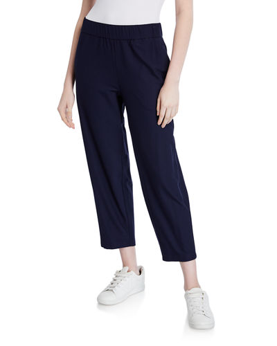 Lightweight Stretch Crepe Cropped Pants