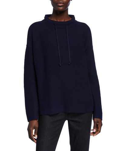 Drawstring Funnel-Neck Sweater