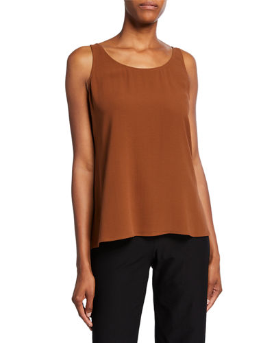 Silk Georgette Crepe Scoop-Neck Tank